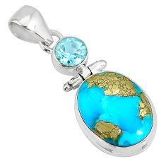 11.09cts natural turquoise pyrite blue topaz 925 silver pendant r78233