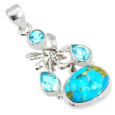 9.42cts natural turquoise pyrite silver angel wings fairy pendant r78081