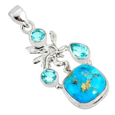 9.07cts natural turquoise pyrite silver angel wings fairy pendant r78082