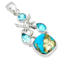 9.63cts natural turquoise pyrite silver angel wings fairy pendant r78084