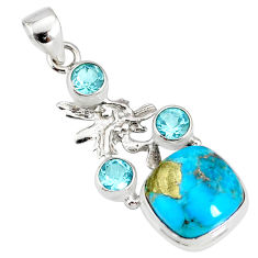 9.57cts natural turquoise pyrite silver angel wings fairy pendant r78085