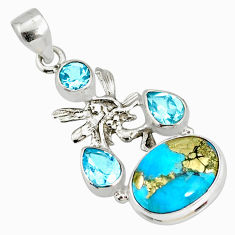 9.10cts natural turquoise pyrite silver angel wings fairy pendant r78088