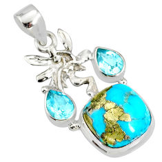 9.67cts natural turquoise pyrite silver angel wings fairy pendant r78091