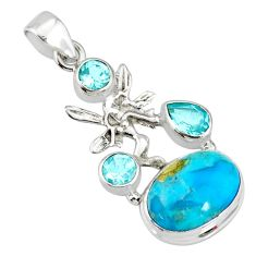 9.32cts natural turquoise pyrite silver angel wings fairy pendant r78092