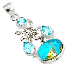 9.32cts natural turquoise pyrite silver angel wings fairy pendant r78098