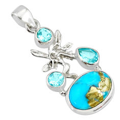 9.30cts natural turquoise pyrite silver angel wings fairy pendant r78116