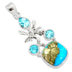 9.57cts natural turquoise pyrite silver angel wings fairy pendant r78118