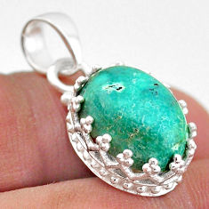 6.56cts natural turquoise tibetan 925 sterling silver crown pendant t43326