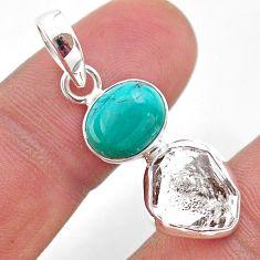 8.39cts natural turquoise tibetan herkimer diamond 925 silver pendant t49101