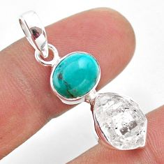 8.46cts natural turquoise tibetan herkimer diamond 925 silver pendant t49105