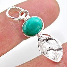 8.90cts natural turquoise tibetan herkimer diamond 925 silver pendant t49107