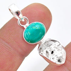 8.00cts natural turquoise tibetan herkimer diamond 925 silver pendant t49110