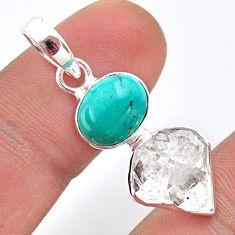 8.90cts natural turquoise tibetan herkimer diamond 925 silver pendant t49113