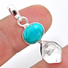8.33cts natural turquoise tibetan herkimer diamond 925 silver pendant t49114