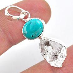9.27cts natural turquoise tibetan herkimer diamond 925 silver pendant t49119