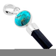 9.05cts natural turquoise tibetan tourmaline raw 925 silver pendant t48481
