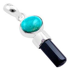 9.46cts natural turquoise tibetan tourmaline raw 925 silver pendant t48489