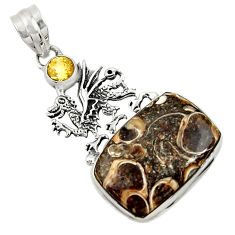 Clearance Sale- 18.94cts natural turritella fossil snail agate 925 silver dragon pendant d44599