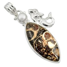 Clearance Sale- Natural turritella fossil snail agate 925 silver fairy mermaid pendant d44590