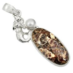 Clearance Sale- Natural turritella fossil snail agate 925 silver fairy mermaid pendant d44598