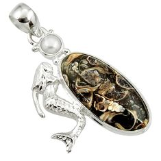 Clearance Sale- Natural turritella fossil snail agate 925 silver fairy mermaid pendant d44609