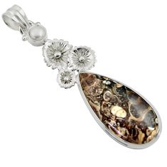 Clearance Sale- 18.46cts natural turritella fossil snail agate 925 silver flower pendant d44593