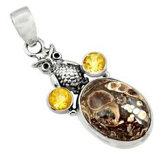 15.11cts natural turritella fossil snail agate 925 silver owl pendant d44595