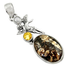 Clearance Sale- Natural turritella fossil snail agate silver angel wings fairy pendant d44584