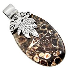 Clearance Sale- Natural turritella fossil snail agate silver deltoid leaf pendant jewelry d45564