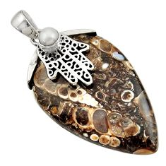 Clearance Sale- Natural turritella fossil snail agate silver hand of god hamsa pendant d45592