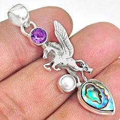 6.10cts natural unicorn abalone paua seashell amethyst 925 silver pendant r90325