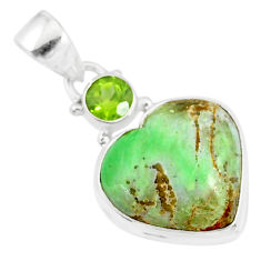 10.65cts natural variscite peridot 925 sterling silver pendant r86321