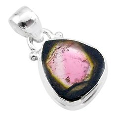 6.53cts natural watermelon tourmaline slice 925 sterling silver pendant t46371