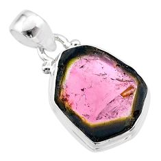 8.00cts natural watermelon tourmaline slice 925 sterling silver pendant t46377