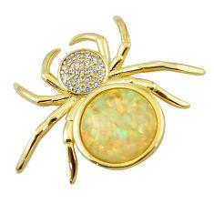 Natural white australian opal (lab) silver 14k gold spider pendant a60885 c15443
