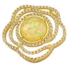 Natural white australian opal (lab) topaz 925 silver 14k gold pendant c22789