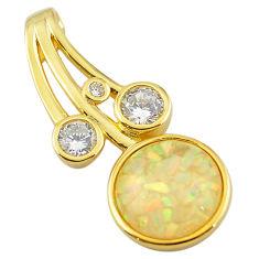 Natural white australian opal (lab) topaz 925 silver gold pendant a61049 c15441