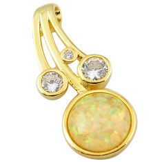 Natural white australian opal (lab) topaz 925 silver gold pendant a61053 c15455