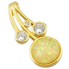 Natural white australian opal (lab) topaz silver 14k gold pendant a61050 c15444