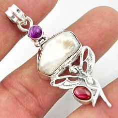 13.71cts natural white biwa pearl 925 silver angel wings fairy pendant d47301