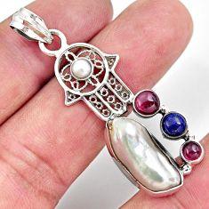 12.03cts natural white biwa pearl 925 silver hand of god hamsa pendant d39432