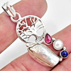 Clearance Sale- 12.47cts natural white biwa pearl 925 silver tree of life pendant d39436