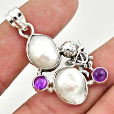 16.46cts natural white biwa pearl amethyst 925 silver angel pendant d47318