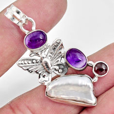 12.29cts natural white biwa pearl amethyst 925 silver butterfly pendant d39434