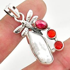 13.71cts natural white biwa pearl cornelian 925 silver dragonfly pendant d47312