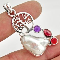 15.31cts natural white biwa pearl cornelian silver tree of life pendant d47338