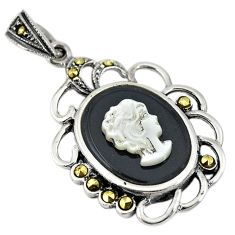 Natural white blister pearl carved lady face marcasite 925 silver pendant c22206