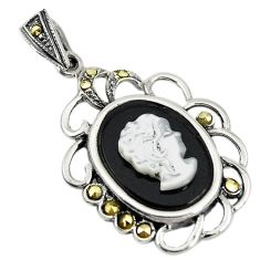 Natural white blister pearl carved lady face marcasite 925 silver pendant c22207