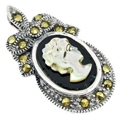 Natural white blister pearl carved lady face marcasite 925 silver pendant c22209