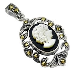 Natural white blister pearl carved lady face marcasite 925 silver pendant c22212